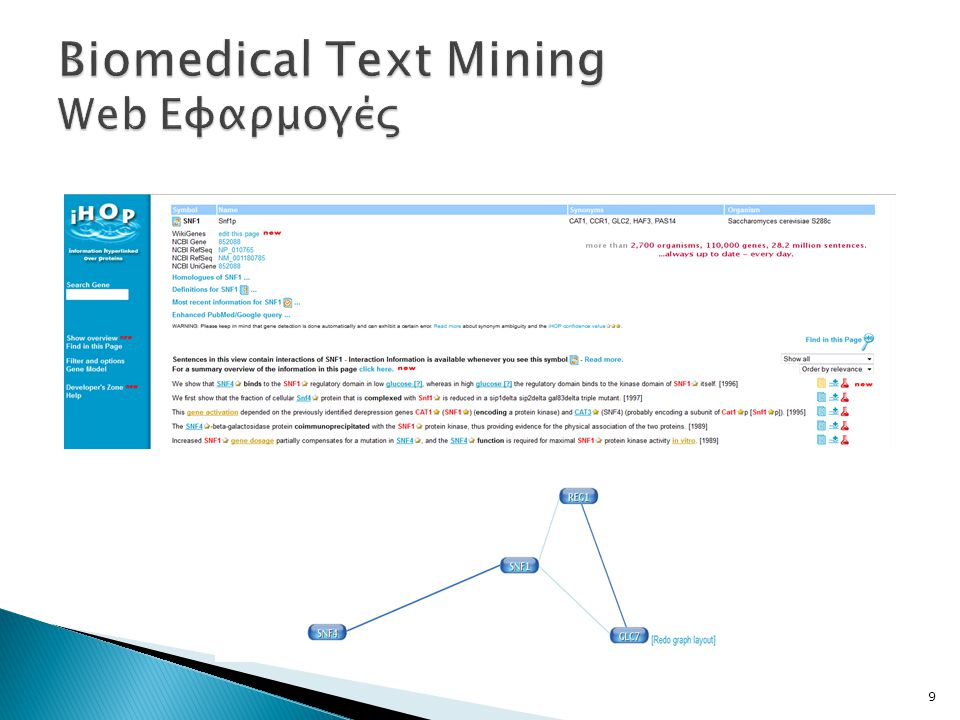 Biomedical Text Mining Web Εφαρμογές