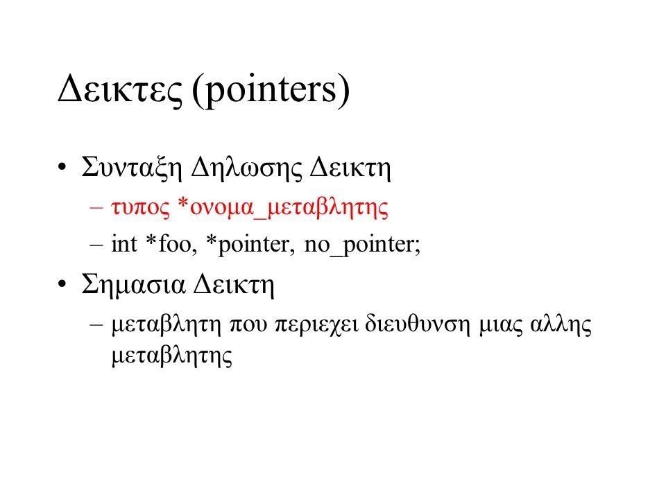 Δεικτες (pointers) Συνταξη Δηλωσης Δεικτη Σημασια Δεικτη