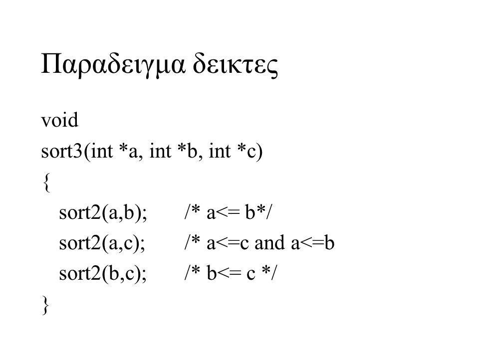 Παραδειγμα δεικτες void sort3(int *a, int *b, int *c) {
