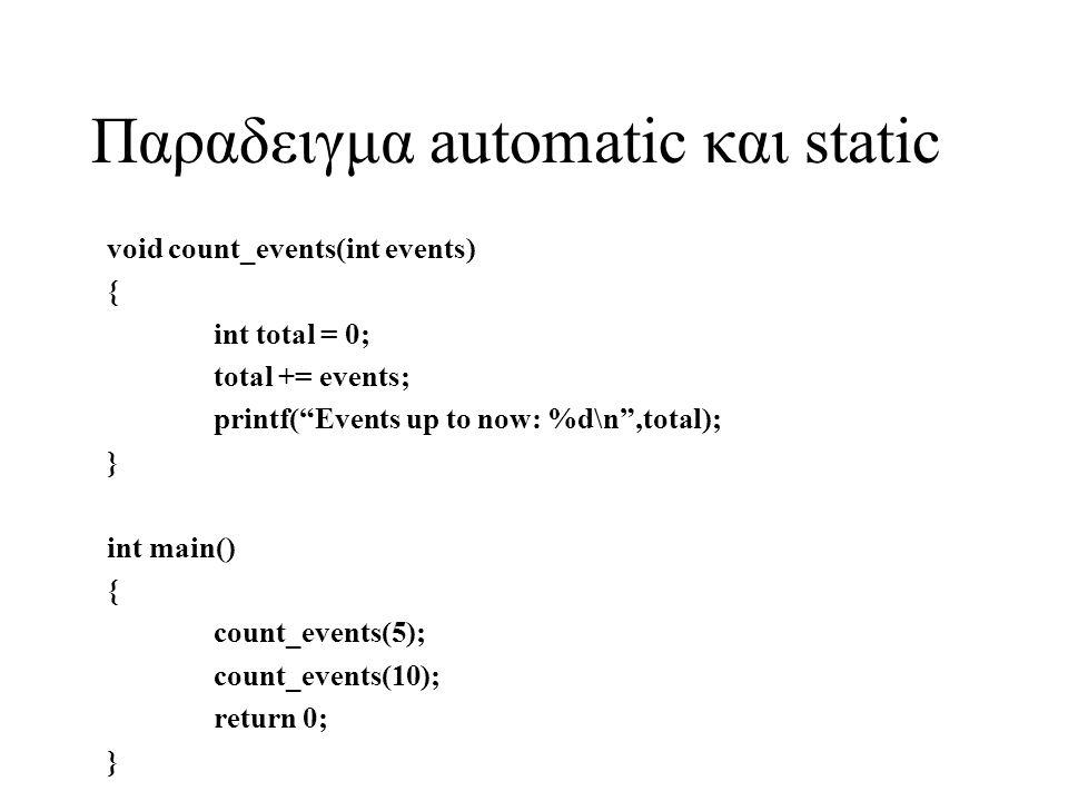 Παραδειγμα automatic και static