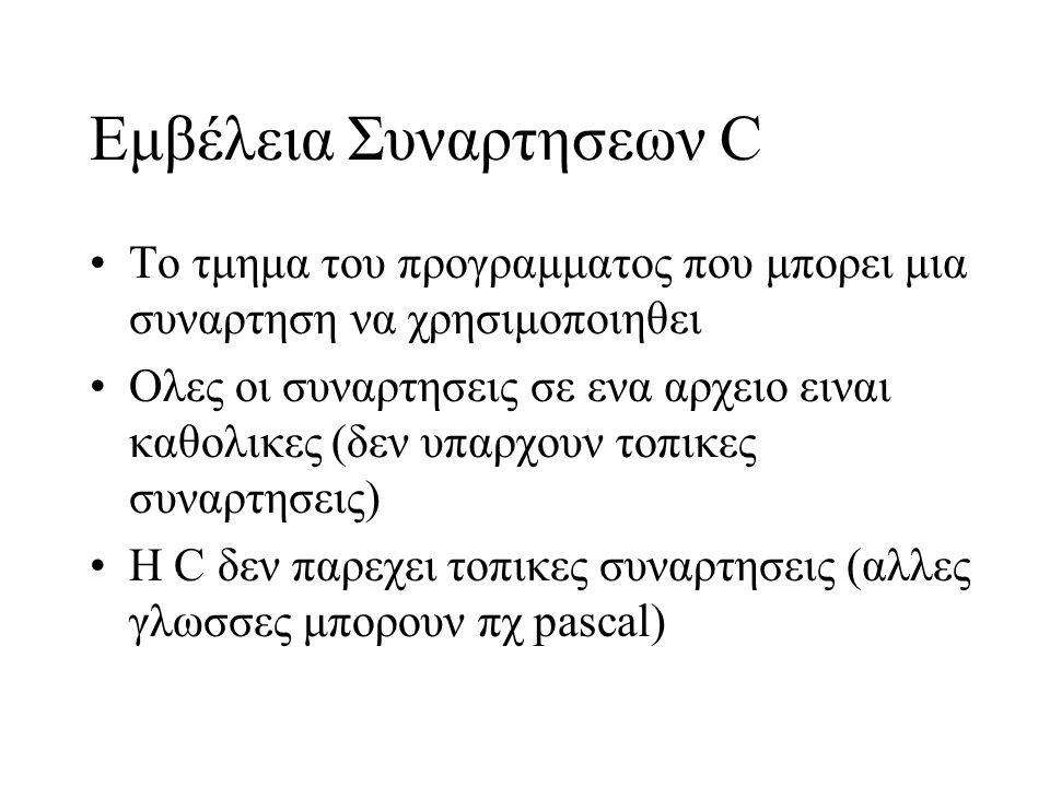 Εμβέλεια Συναρτησεων C