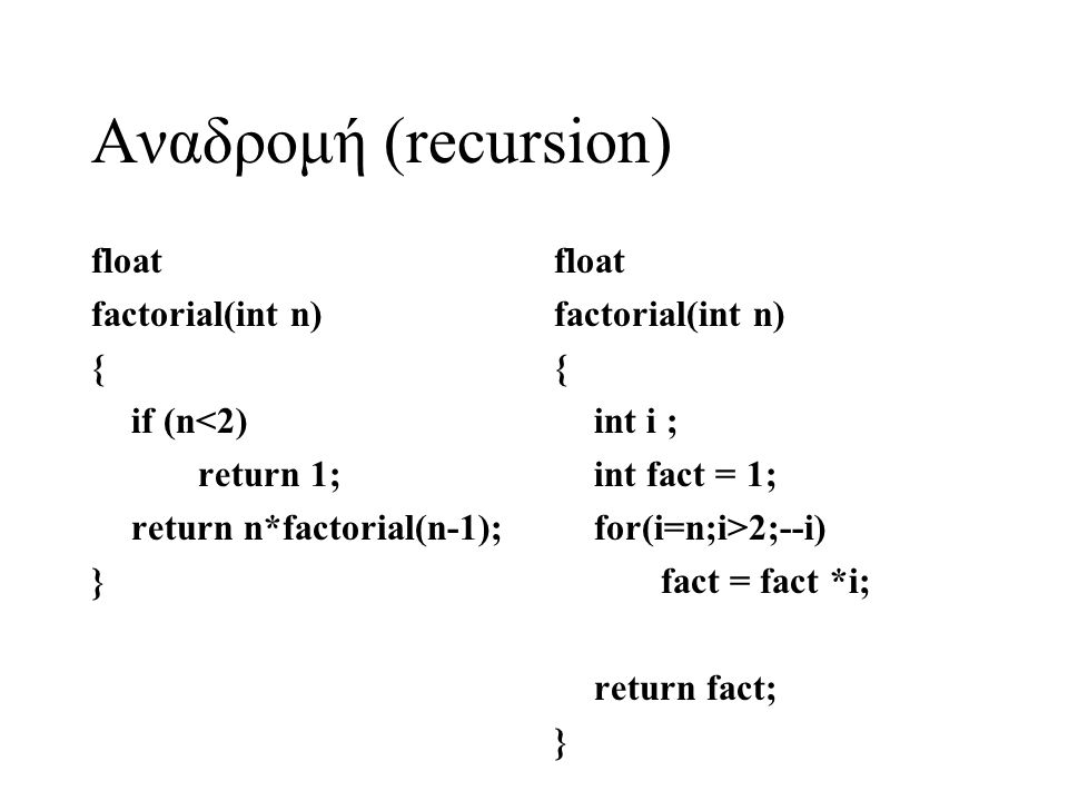 Αναδρομή (recursion) float factorial(int n) { if (n<2) return 1;