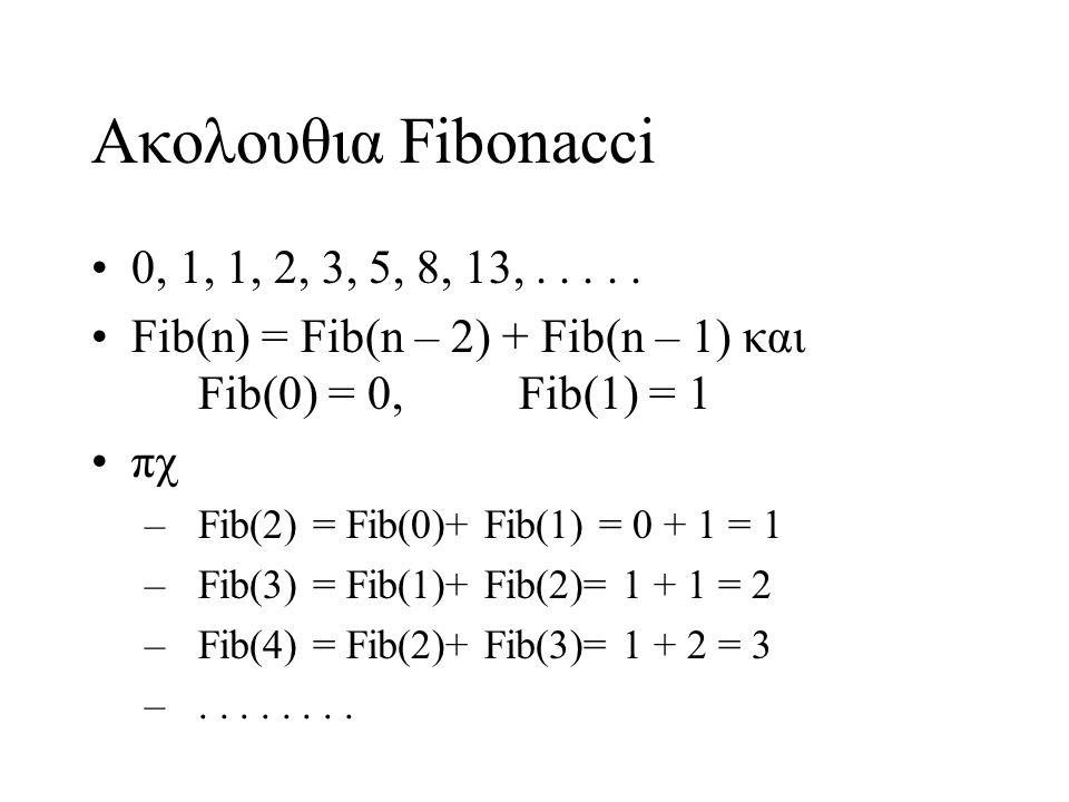Ακολουθια Fibonacci 0, 1, 1, 2, 3, 5, 8, 13, . . . . . Fib(n) = Fib(n – 2) + Fib(n – 1) και Fib(0) = 0, Fib(1) = 1.