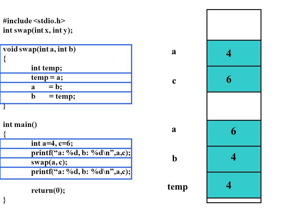 4 6 6 4 4 6 4 a c a b temp #include <stdio.h>