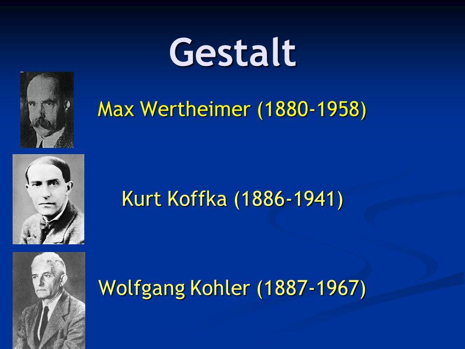Gestalt Max Wertheimer (1880-1958) Kurt Koffka (1886-1941)