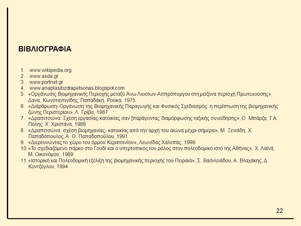 ΒΙΒΛΙΟΓΡΑΦΙΑ www.wikipedia.org www.asda.gr www.portnet.gr