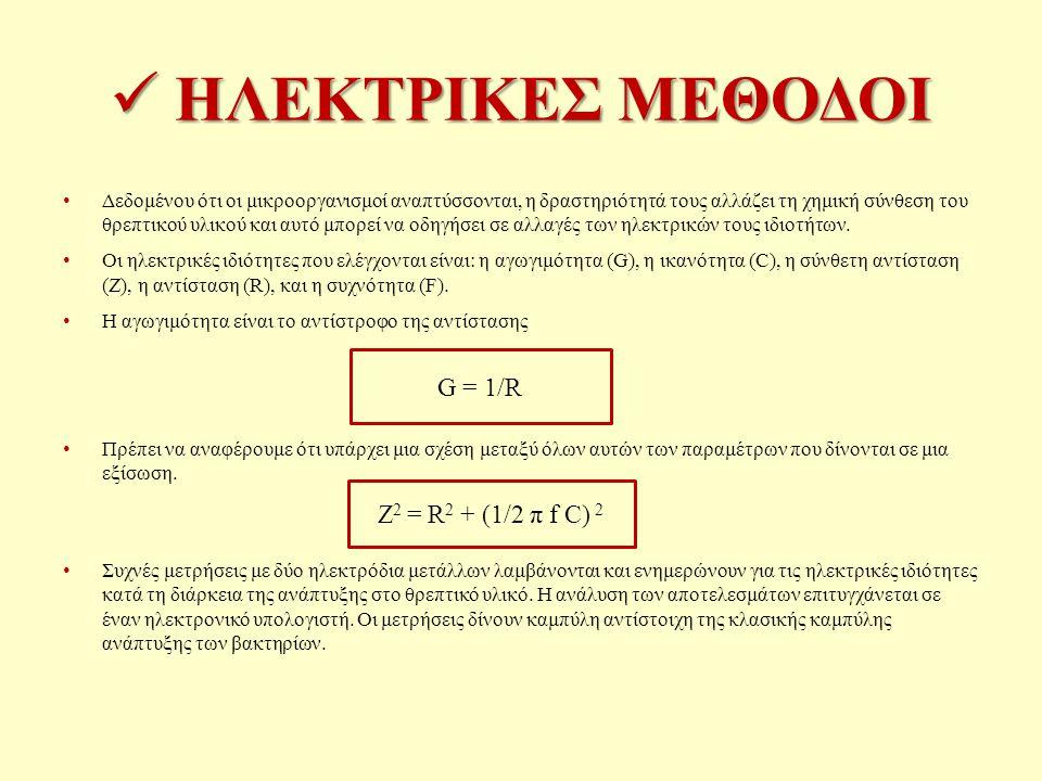 ΗΛΕΚΤΡΙΚΕΣ ΜΕΘΟΔΟΙ G = 1/R Z2 = R2 + (1/2 π f C) 2