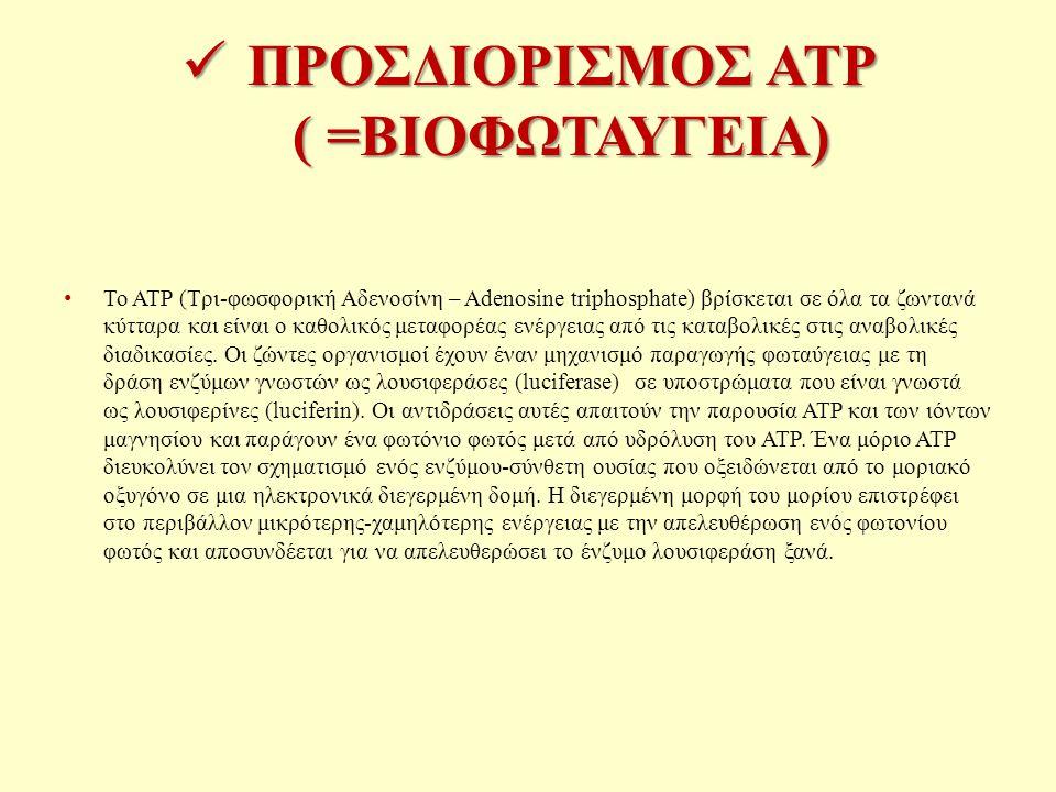 ΠΡΟΣΔΙΟΡΙΣΜΟΣ ATP ( =ΒΙΟΦΩΤΑΥΓΕΙΑ)
