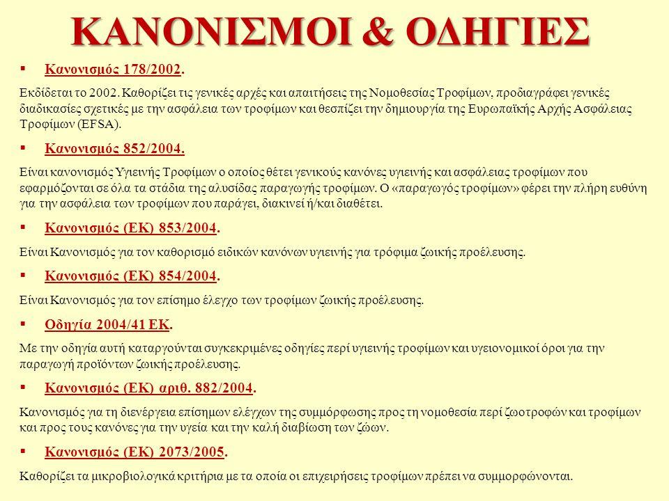 ΚΑΝΟΝΙΣΜΟΙ & ΟΔΗΓΙΕΣ Κανονισμός 178/2002. Κανονισμός 852/2004.