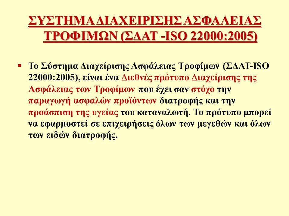 ΣΥΣΤΗΜΑ ΔΙΑΧΕΙΡΙΣΗΣ ΑΣΦΑΛΕΙΑΣ ΤΡΟΦΙΜΩΝ (ΣΔΑΤ -ISO 22000:2005)
