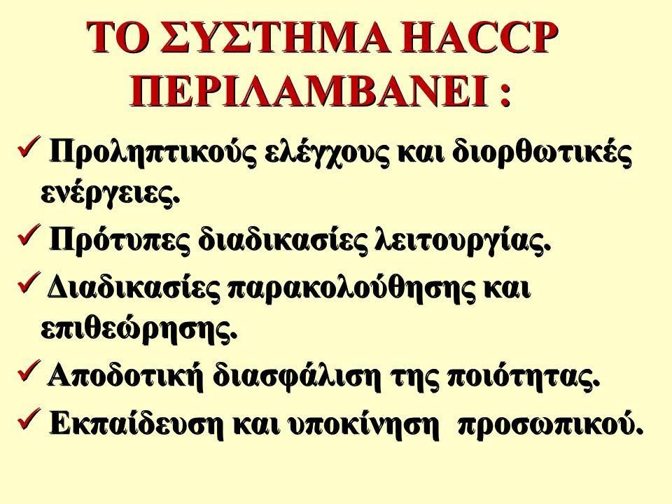 ΤΟ ΣΥΣΤΗΜΑ HACCP ΠΕΡΙΛΑΜΒΑΝΕΙ :