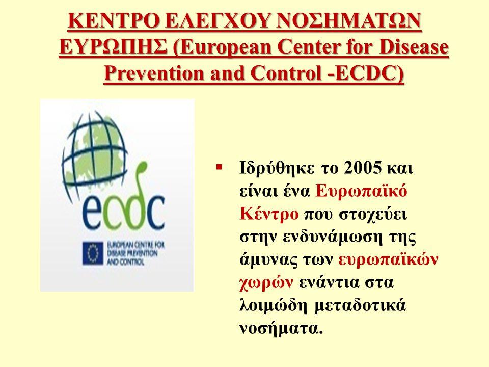 ΚΕΝΤΡΟ ΕΛΕΓΧΟΥ ΝΟΣΗΜΑΤΩΝ ΕΥΡΩΠΗΣ (European Center for Disease Prevention and Control -ECDC)