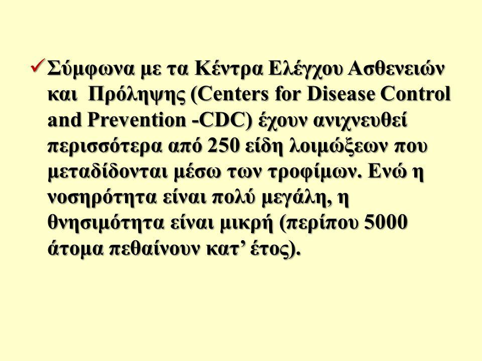 Σύμφωνα με τα Κέντρα Ελέγχου Ασθενειών και Πρόληψης (Centers for Disease Control and Prevention -CDC) έχουν ανιχνευθεί περισσότερα από 250 είδη λοιμώξεων που μεταδίδονται μέσω των τροφίμων.