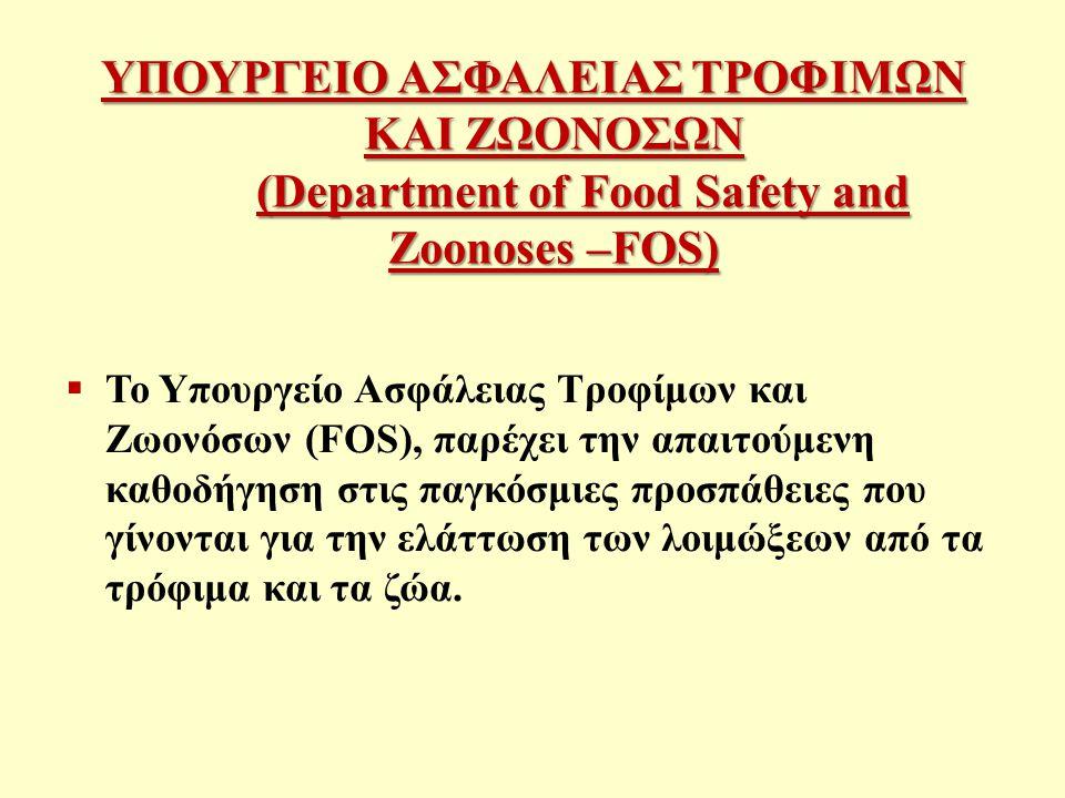 ΥΠΟΥΡΓΕΙΟ ΑΣΦΑΛΕΙΑΣ ΤΡΟΦΙΜΩΝ ΚΑΙ ΖΩΟΝΟΣΩΝ (Department of Food Safety and Zoonoses –FOS)