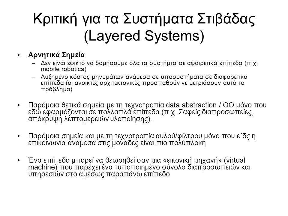 Κριτική για τα Συστήματα Στιβάδας (Layered Systems)