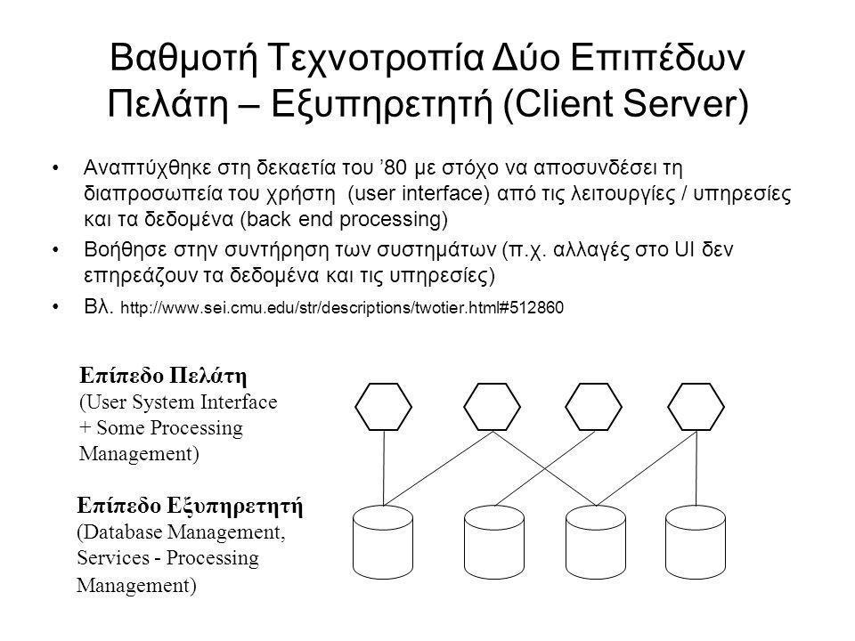 Βαθμοτή Τεχνοτροπία Δύο Επιπέδων Πελάτη – Εξυπηρετητή (Client Server)