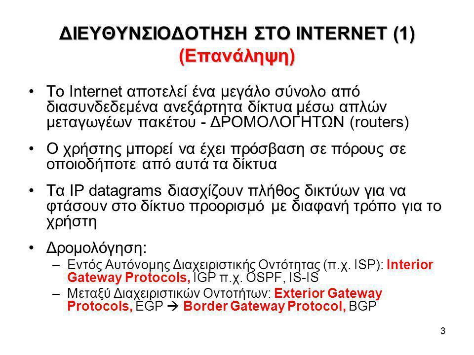 ΔΙΕΥΘΥΝΣΙΟΔΟΤΗΣΗ ΣΤΟ INTERNET (1) (Επανάληψη)