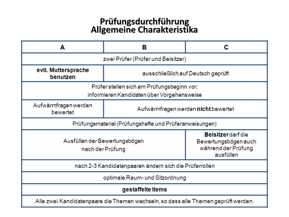Prüfungsdurchführung Allgemeine Charakteristika
