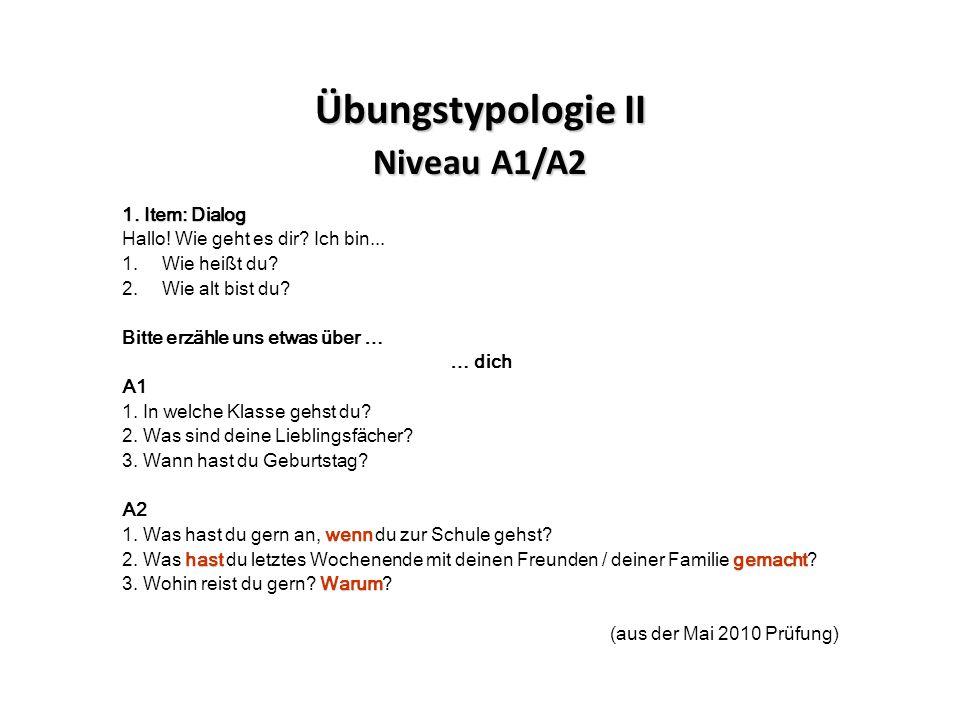 Übungstypologie II Niveau A1/A2