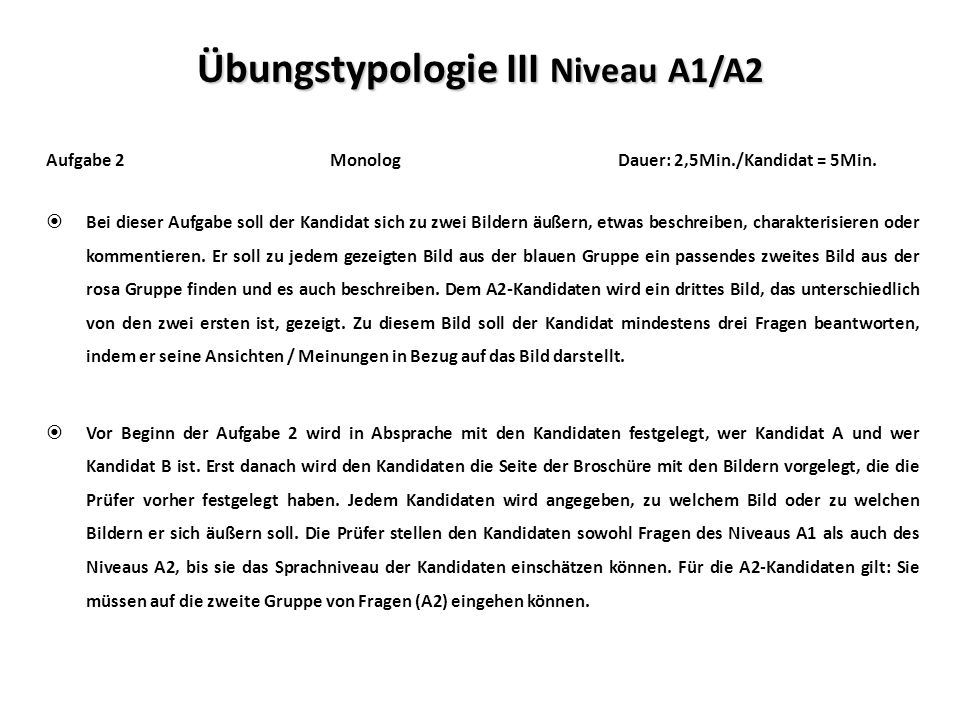 Übungstypologie III Niveau A1/A2