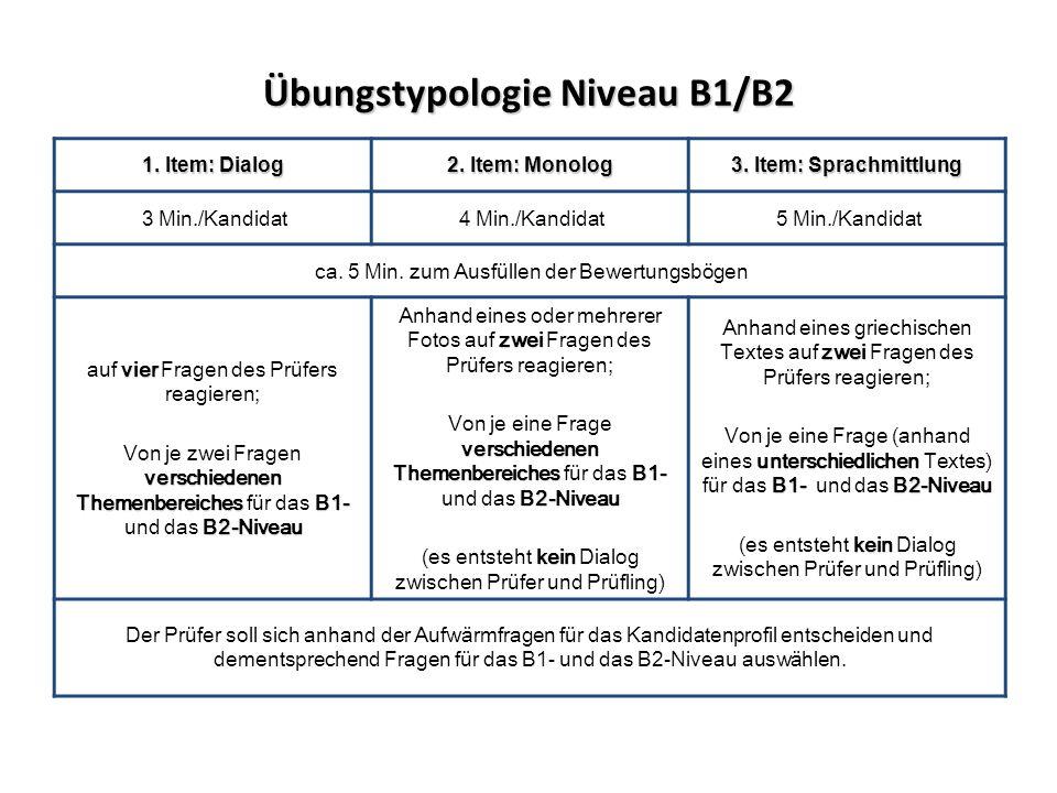 Übungstypologie Niveau B1/B2