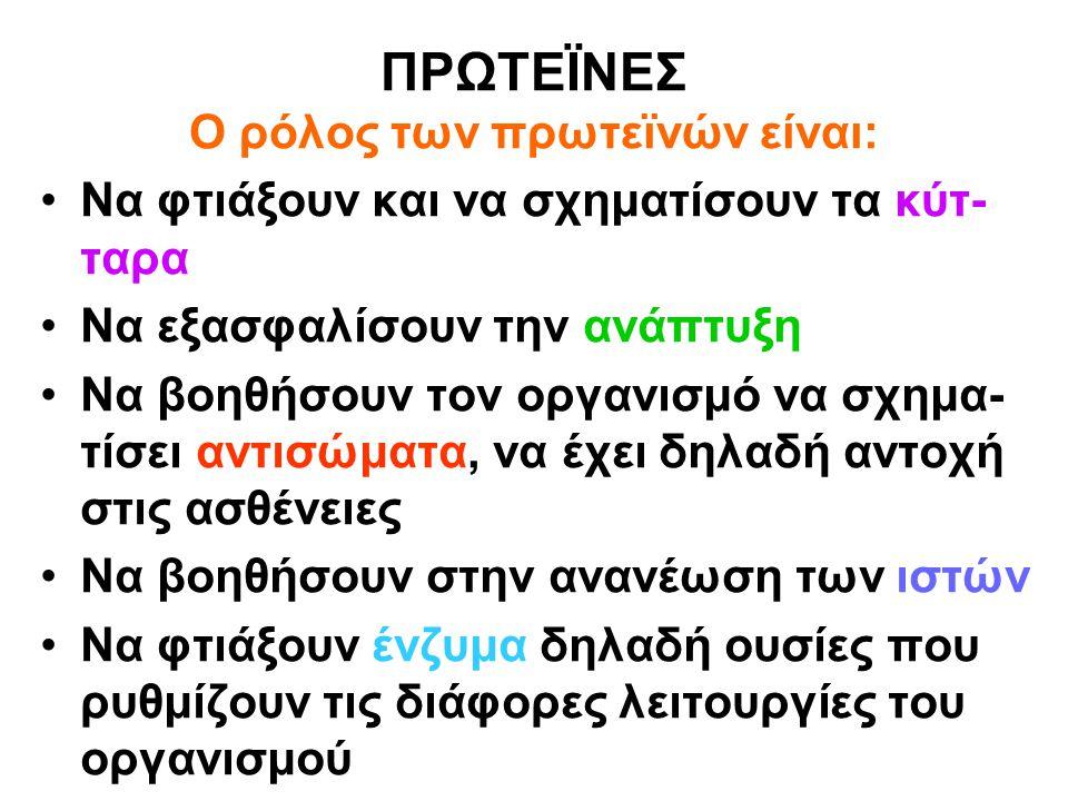 ΠΡΩΤΕΪΝΕΣ Ο ρόλος των πρωτεϊνών είναι: