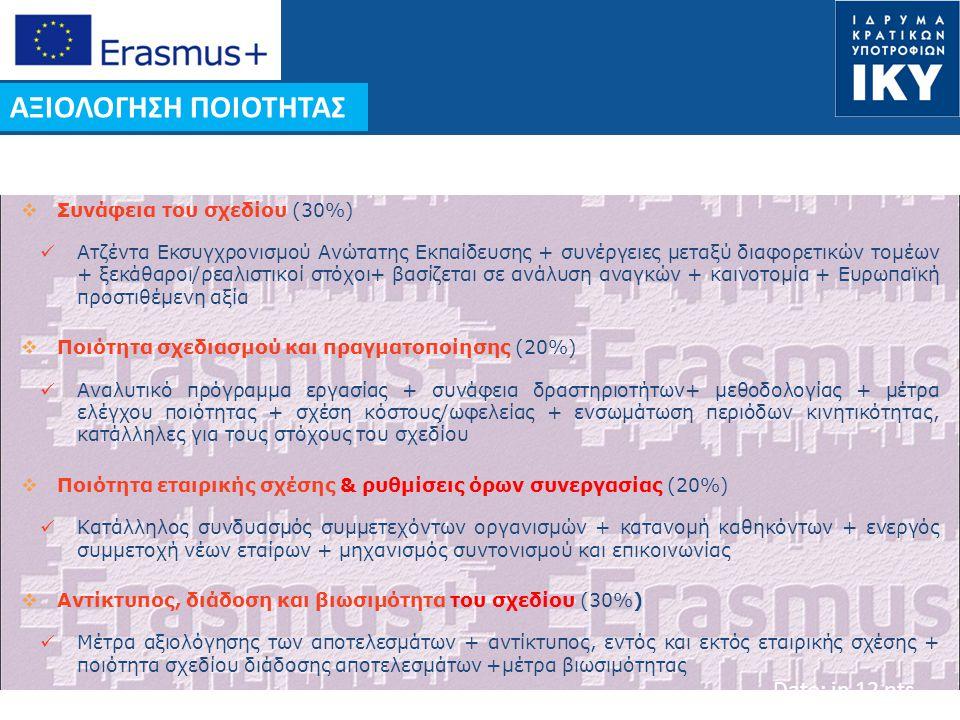ΑΞΙΟΛΟΓΗΣΗ ΠΟΙΟΤΗΤΑΣ Συνάφεια του σχεδίου (30%)
