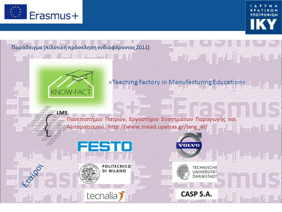 Εταίροι «Teaching Factory in Manufacturing Education»