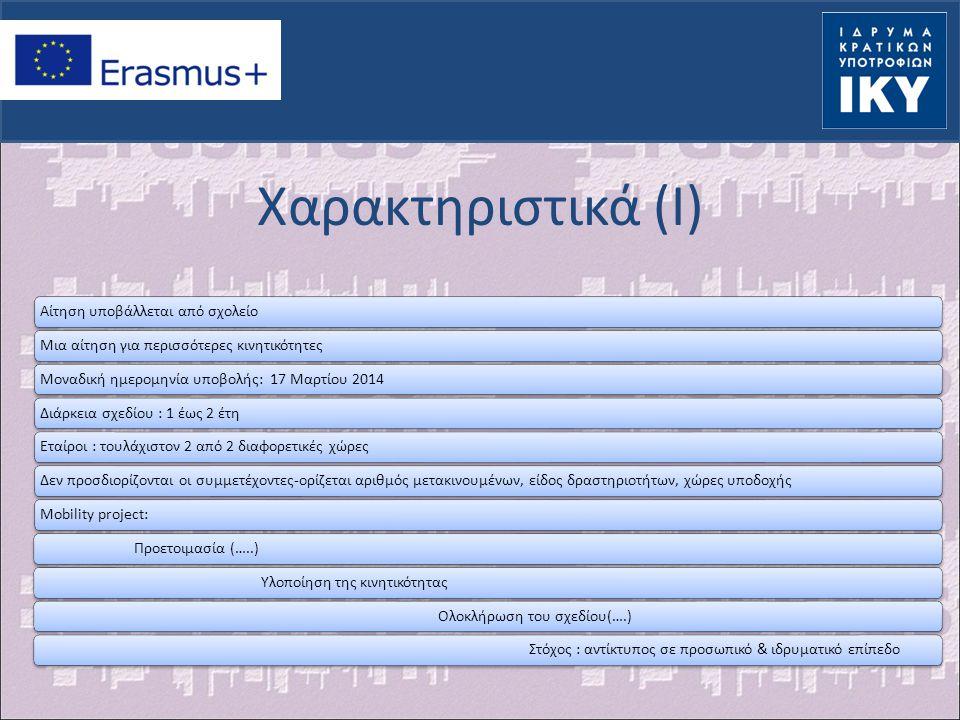 Χαρακτηριστικά (I) Αίτηση υποβάλλεται από σχολείο