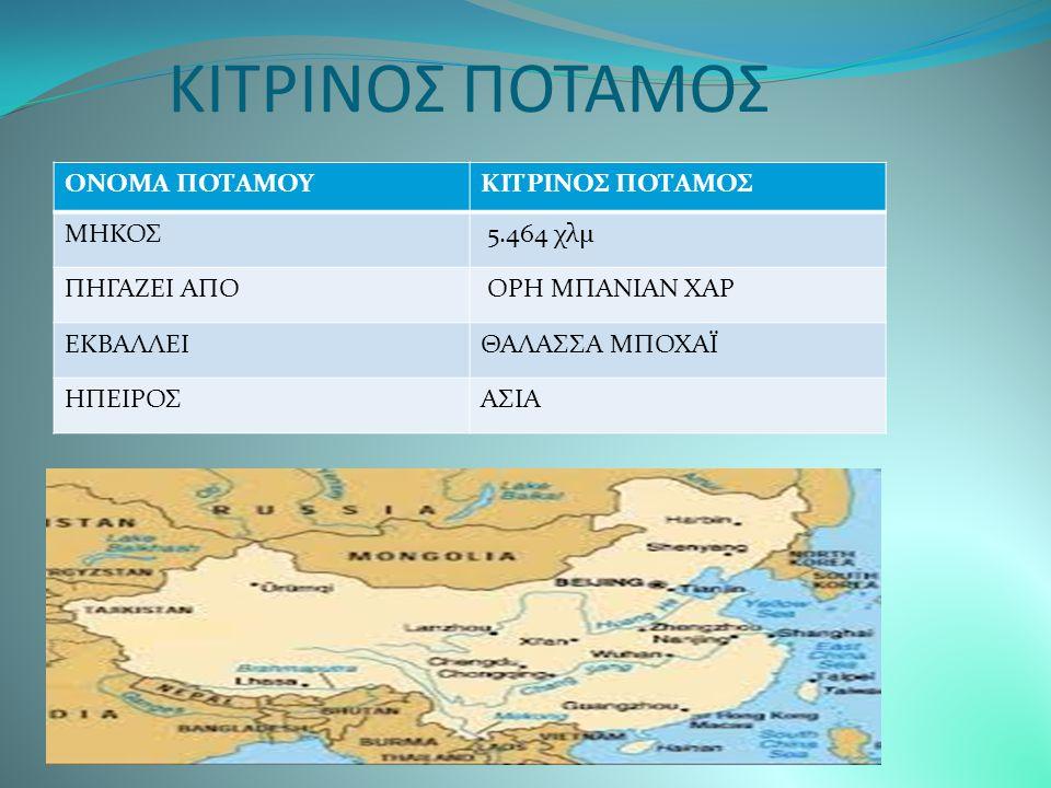ΚΙΤΡΙΝΟΣ ΠΟΤΑΜΟΣ ΟΝΟΜΑ ΠΟΤΑΜΟΥ ΚΙΤΡΙΝΟΣ ΠΟΤΑΜΟΣ ΜΗΚΟΣ 5.464 χλμ