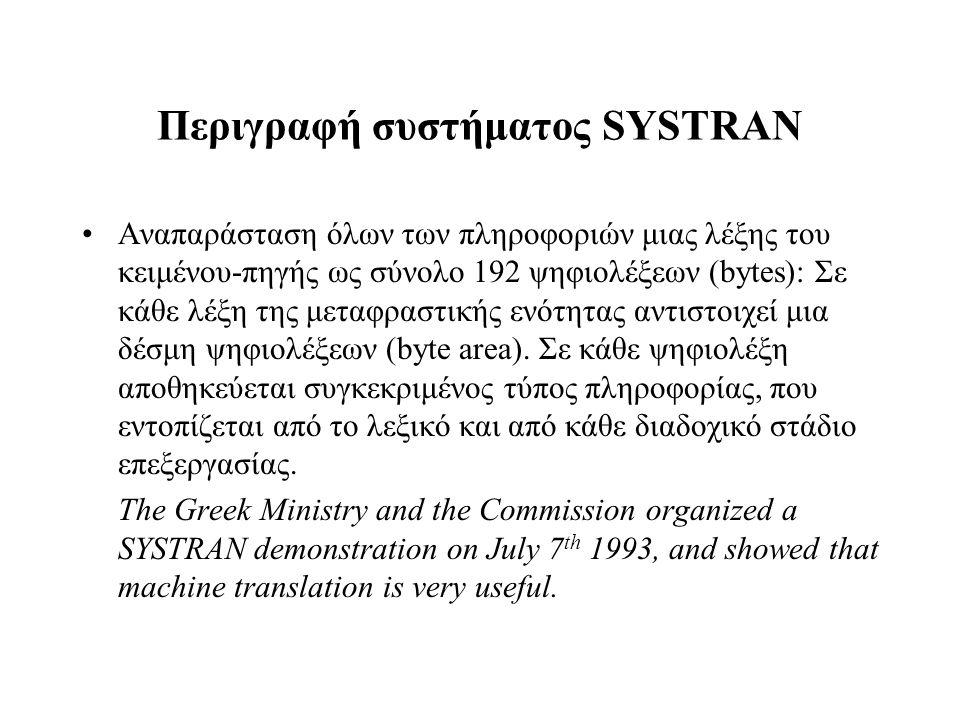Περιγραφή συστήματος SYSTRAN