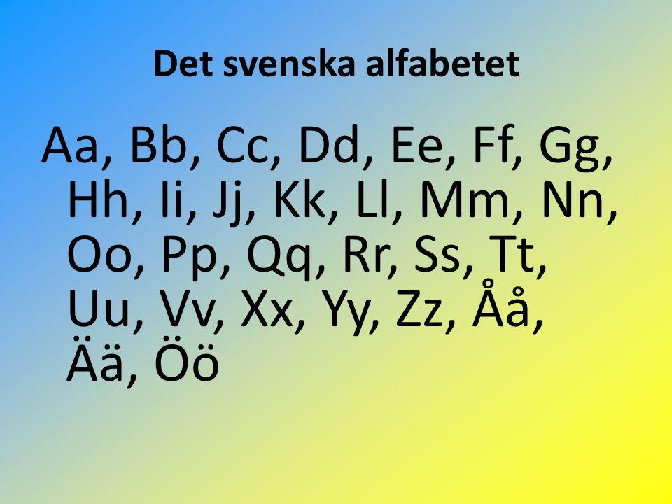 Det svenska alfabetet Aa, Bb, Cc, Dd, Ee, Ff, Gg, Hh, Ii, Jj, Kk, Ll, Mm, Nn, Oo, Pp, Qq, Rr, Ss, Tt, Uu, Vv, Xx, Yy, Zz, Åå, Ää, Öö.