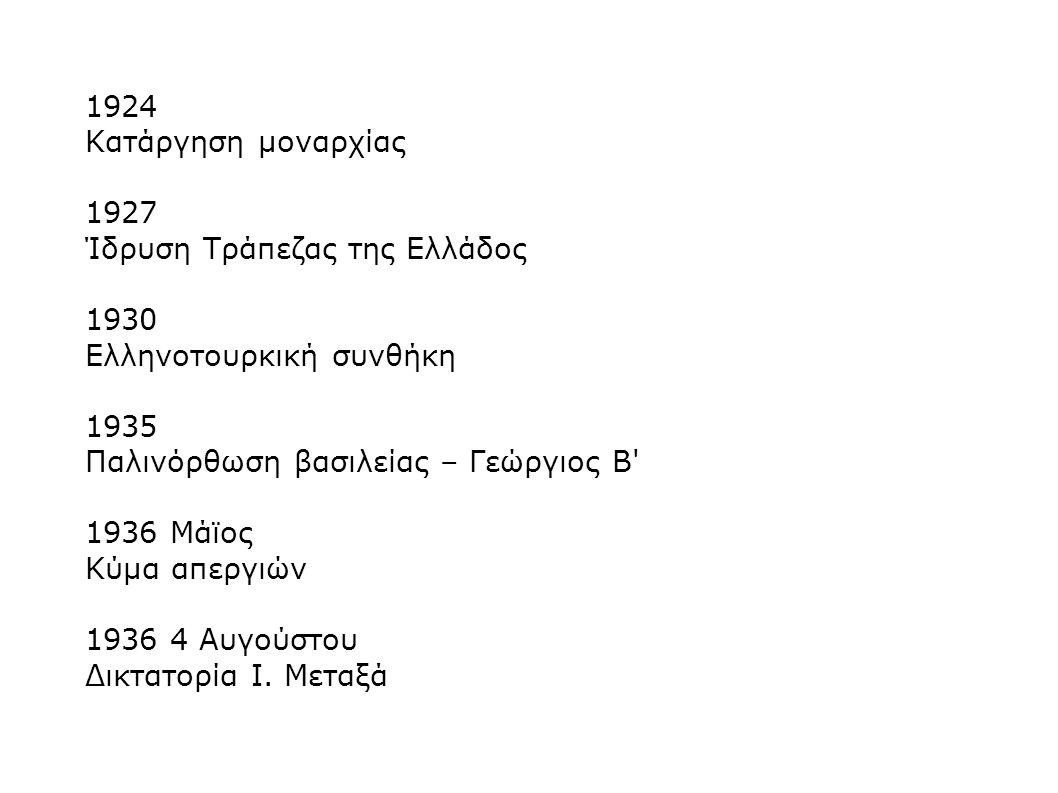 1924 Κατάργηση μοναρχίας. 1927. Ίδρυση Τράπεζας της Ελλάδος. 1930. Ελληνοτουρκική συνθήκη. 1935.