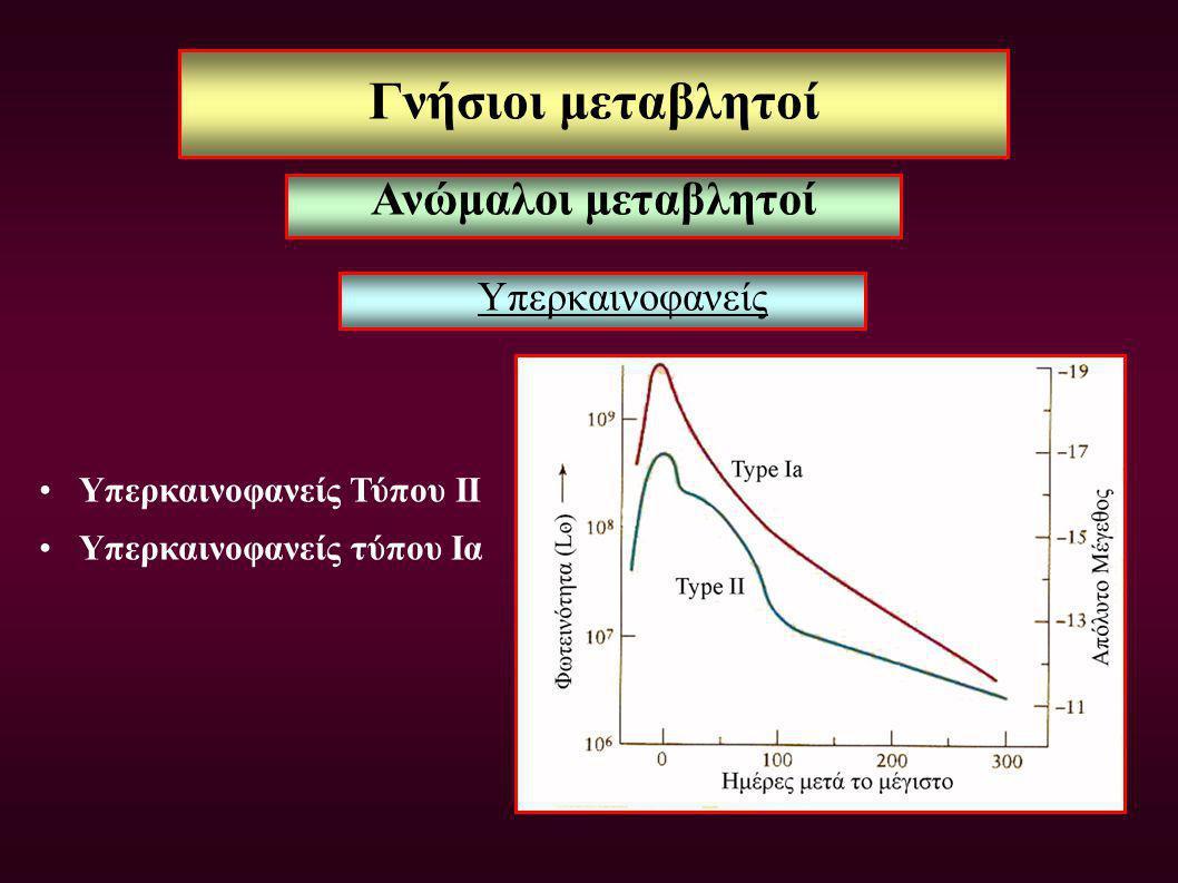 Γνήσιοι μεταβλητοί Ανώμαλοι μεταβλητοί Υπερκαινοφανείς