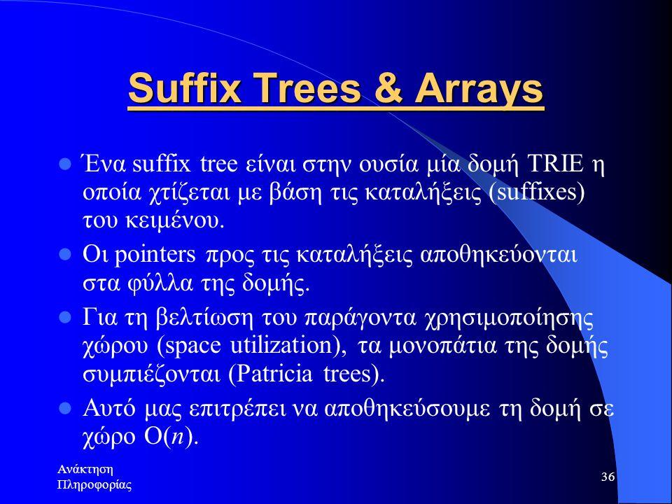 Suffix Trees & Arrays Ένα suffix tree είναι στην ουσία μία δομή TRIE η οποία χτίζεται με βάση τις καταλήξεις (suffixes) του κειμένου.