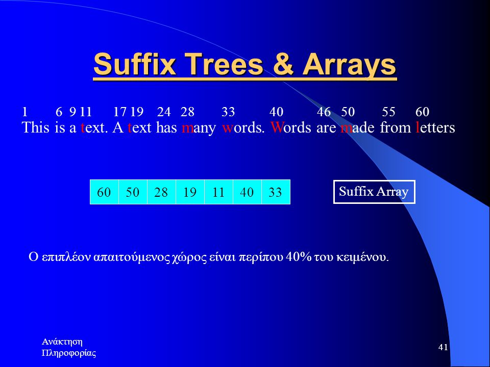 Suffix Trees & Arrays 1 6 9 11 17 19 24 28 33 40 46 50 55 60.