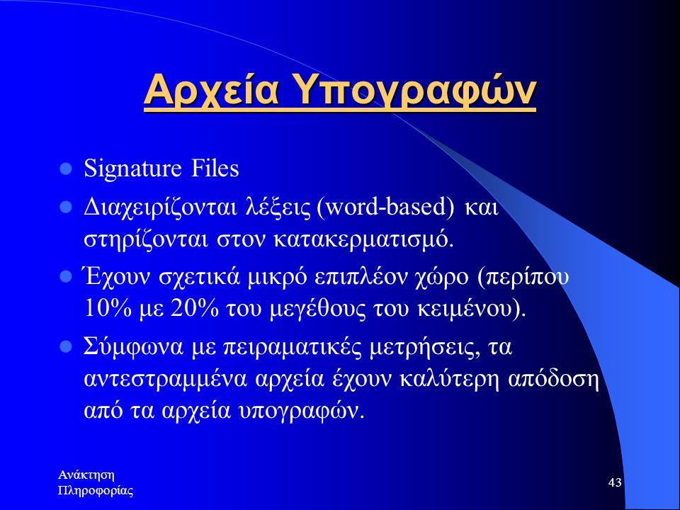 Αρχεία Υπογραφών Signature Files