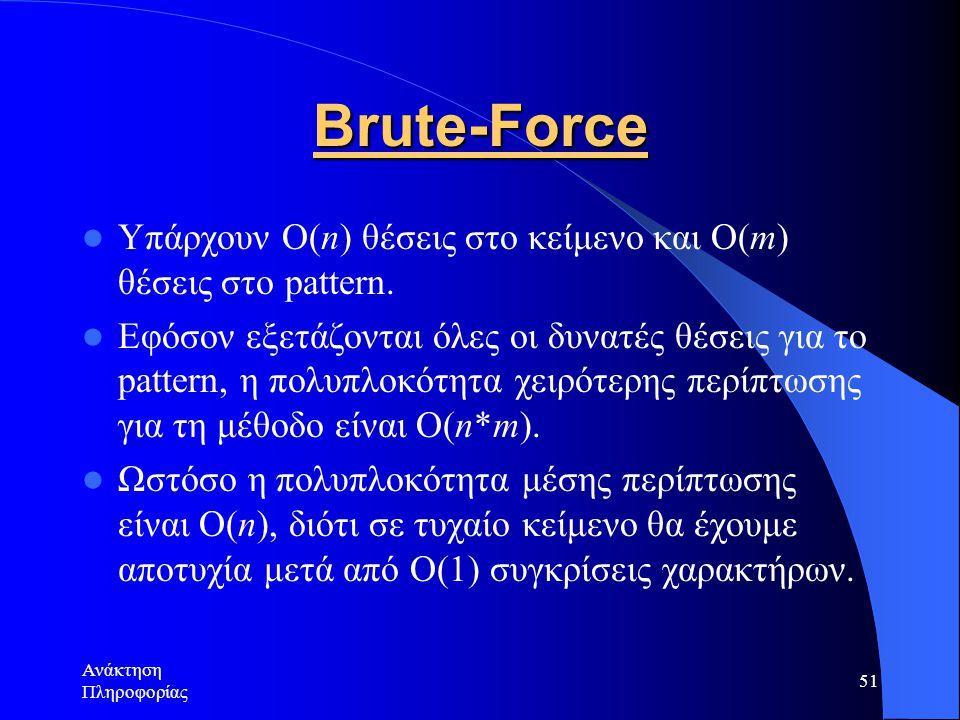 Brute-Force Υπάρχουν O(n) θέσεις στο κείμενο και Ο(m) θέσεις στο pattern.