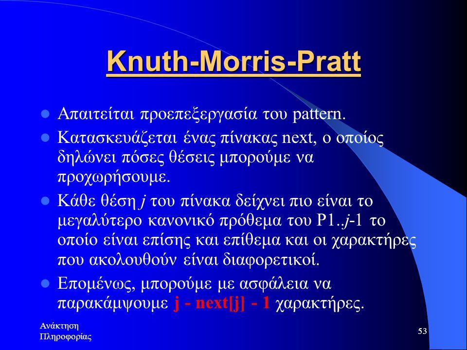 Knuth-Morris-Pratt Απαιτείται προεπεξεργασία του pattern.