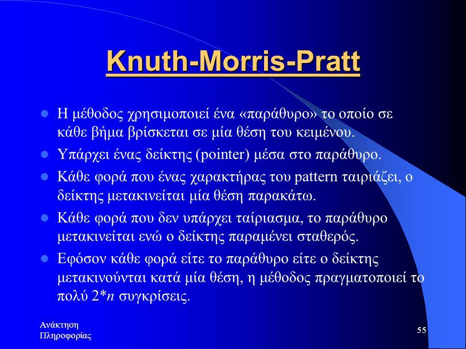 Knuth-Morris-Pratt Η μέθοδος χρησιμοποιεί ένα «παράθυρο» το οποίο σε κάθε βήμα βρίσκεται σε μία θέση του κειμένου.