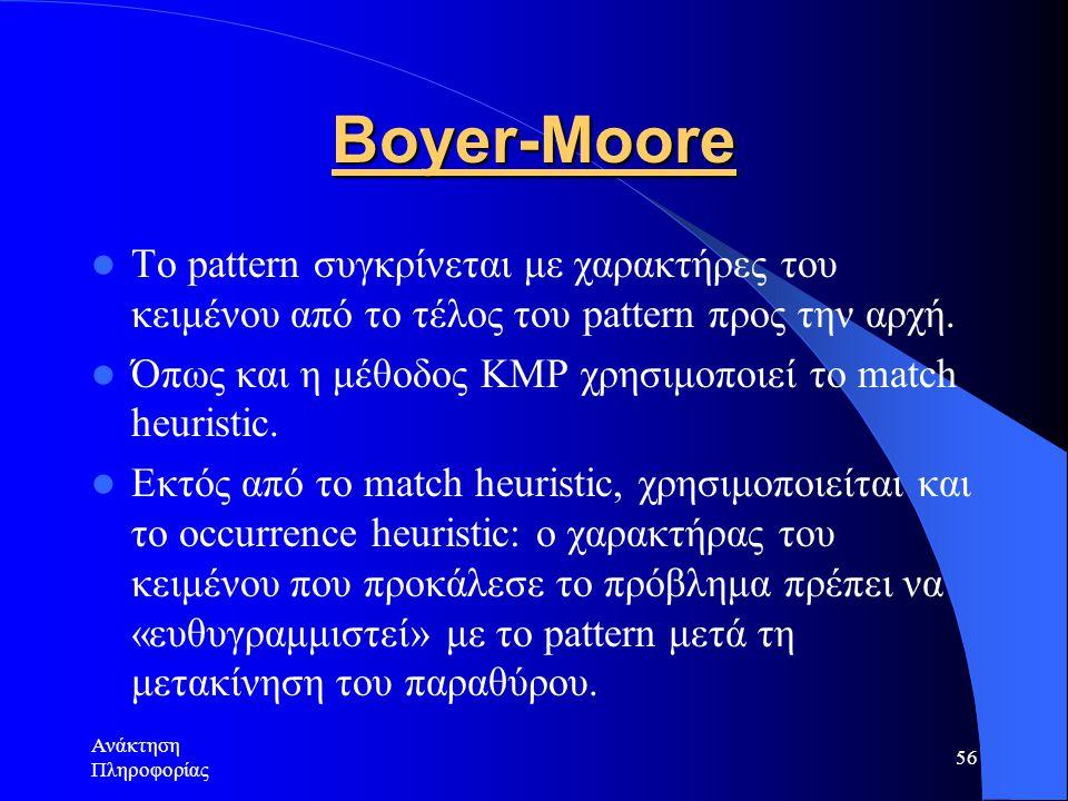 Boyer-Moore Το pattern συγκρίνεται με χαρακτήρες του κειμένου από το τέλος του pattern προς την αρχή.