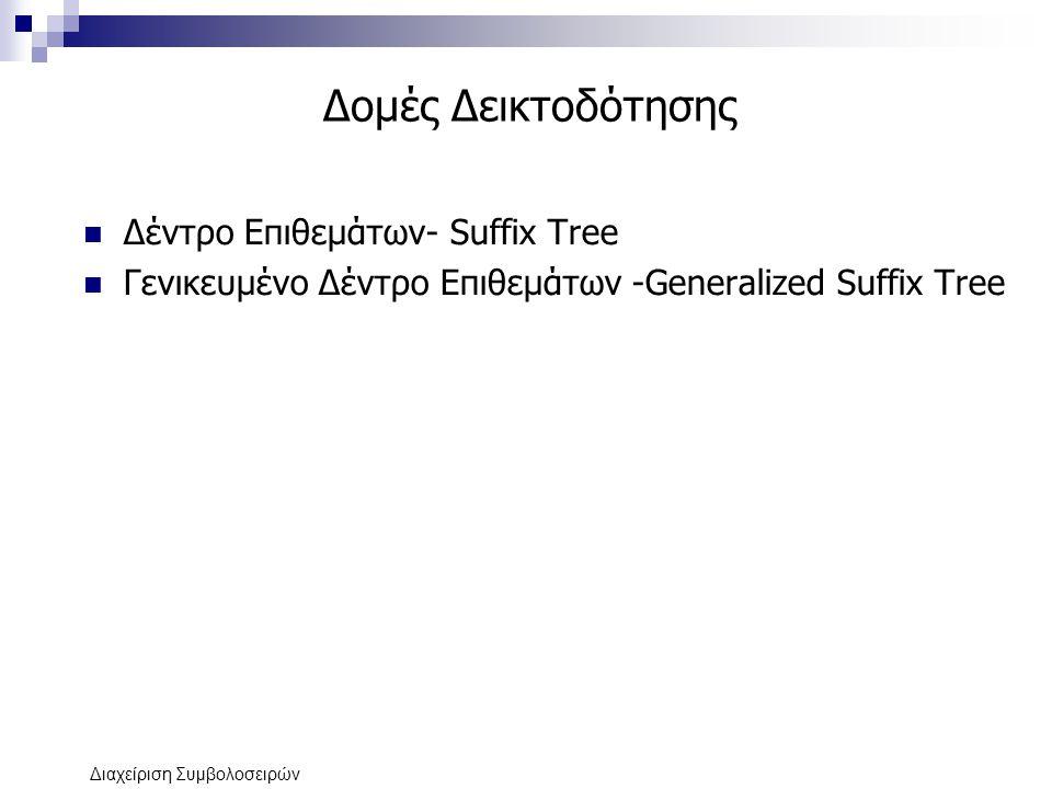 Δομές Δεικτοδότησης Δέντρο Επιθεμάτων- Suffix Tree
