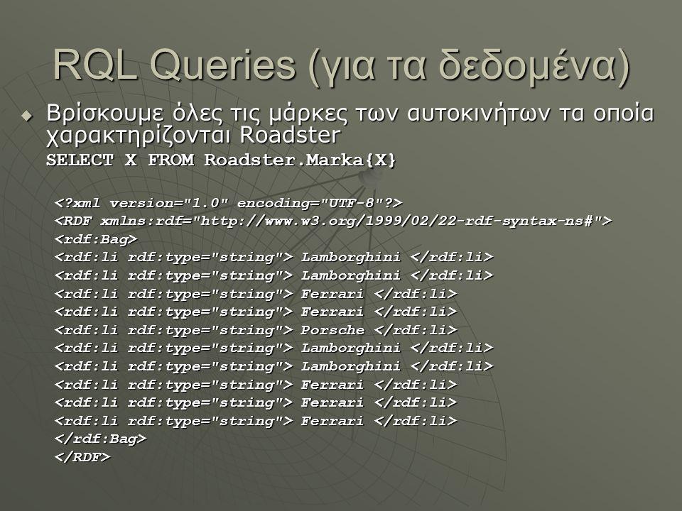 RQL Queries (για τα δεδομένα)