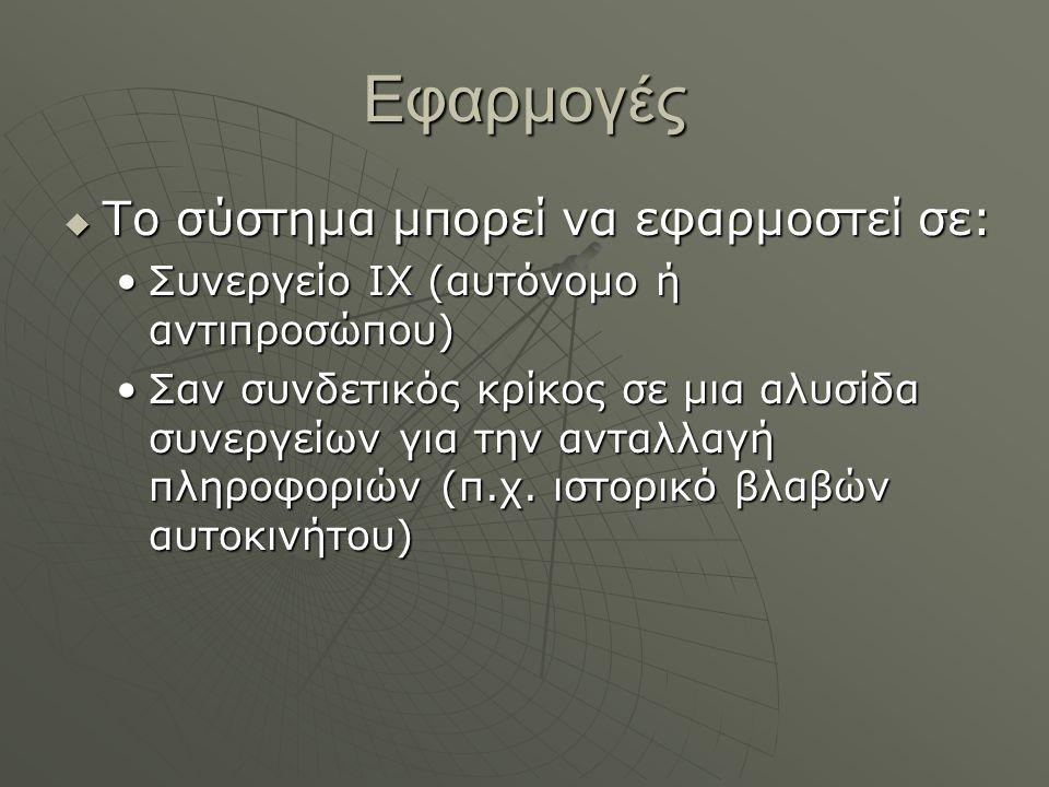Εφαρμογές Το σύστημα μπορεί να εφαρμοστεί σε: