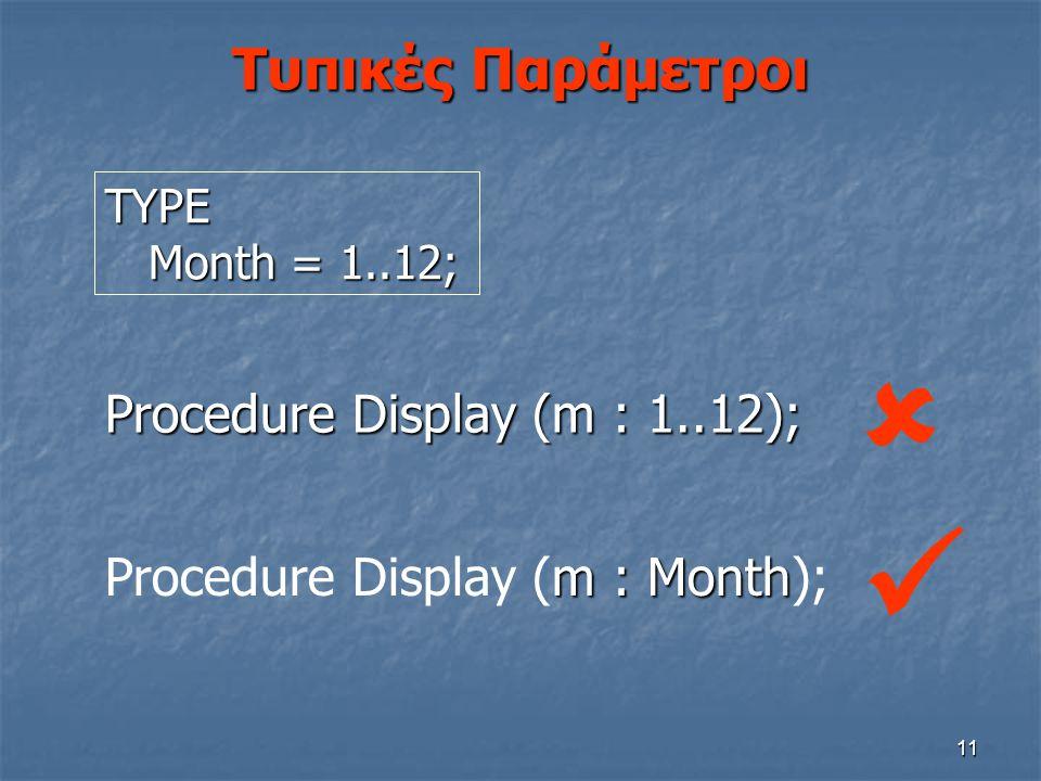   Τυπικές Παράμετροι Procedure Display (m : 1..12);