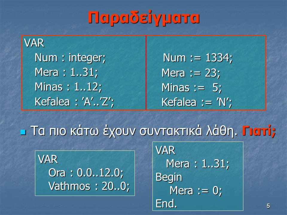 Παραδείγματα Num := 1334; Τα πιο κάτω έχουν συντακτικά λάθη. Γιατί;