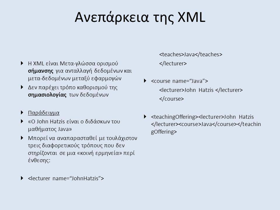 Ανεπάρκεια της XML <teaches>Java</teaches>