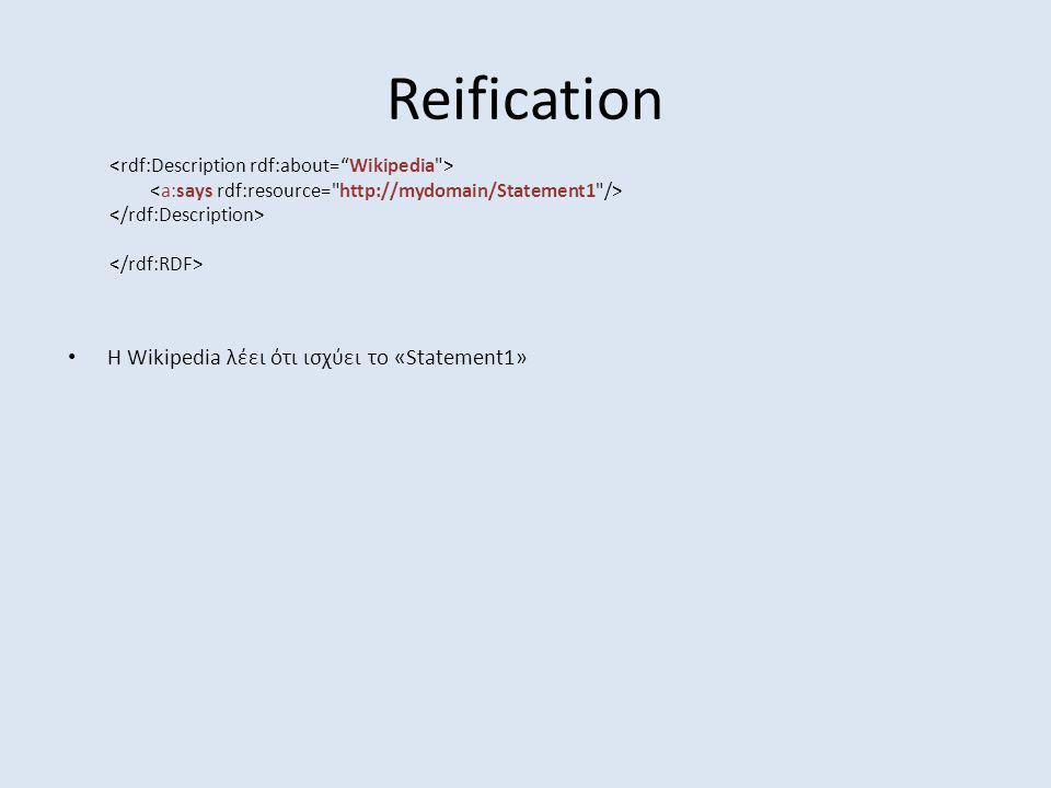 Reification H Wikipedia λέει ότι ισχύει το «Statement1»