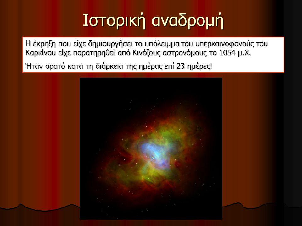 Ιστορική αναδρομή Η έκρηξη που είχε δημιουργήσει το υπόλειμμα του υπερκαινοφανούς του Καρκίνου είχε παρατηρηθεί από Κινέζους αστρονόμους το 1054 μ.Χ.