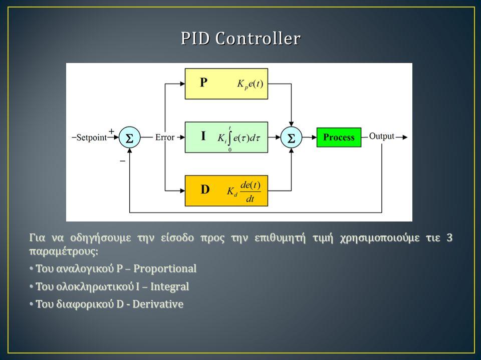 PID Controller Για να οδηγήσουμε την είσοδο προς την επιθυμητή τιμή χρησιμοποιούμε τιε 3 παραμέτρους: